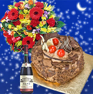 Midnight Delivery Flowers Cake N Wine