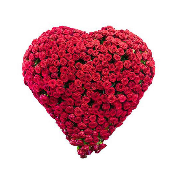 200 red rose heart shape basket