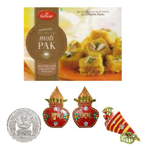 USA Special-Diwali Shagun with Haldiram Motipak and Silver Coin