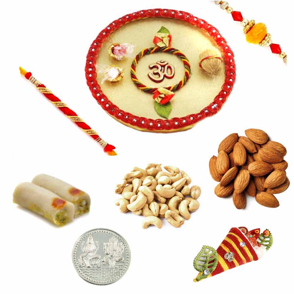 Sweets & Dryfruits-Rakhi Thali with Assorted Rolls and Assorted Dryfruits