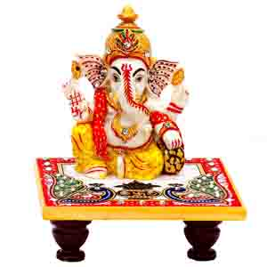 USA Special-Diwali Lord Ganesh on Marble Chowki with Peacock and Kalash motifs