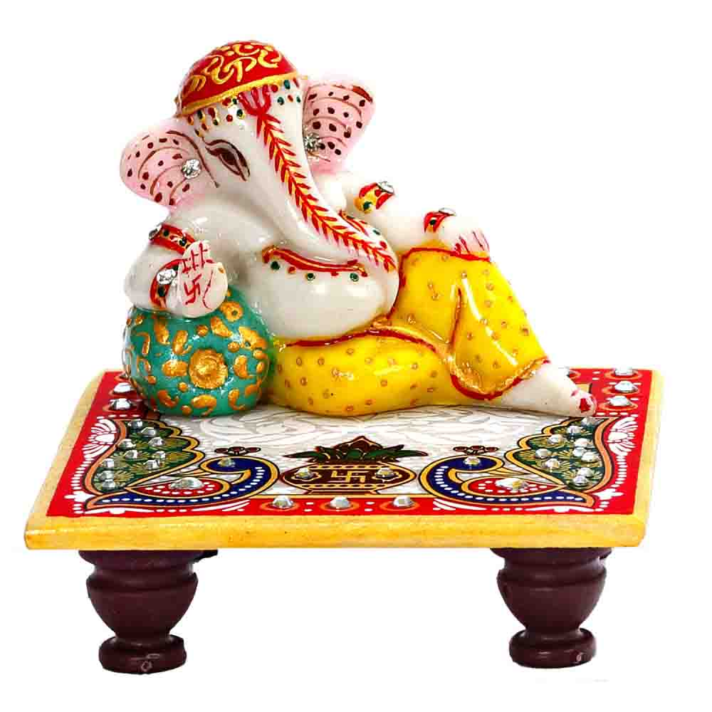 Diwali Lord Ganesh In Rest Position on Marble Chowki
