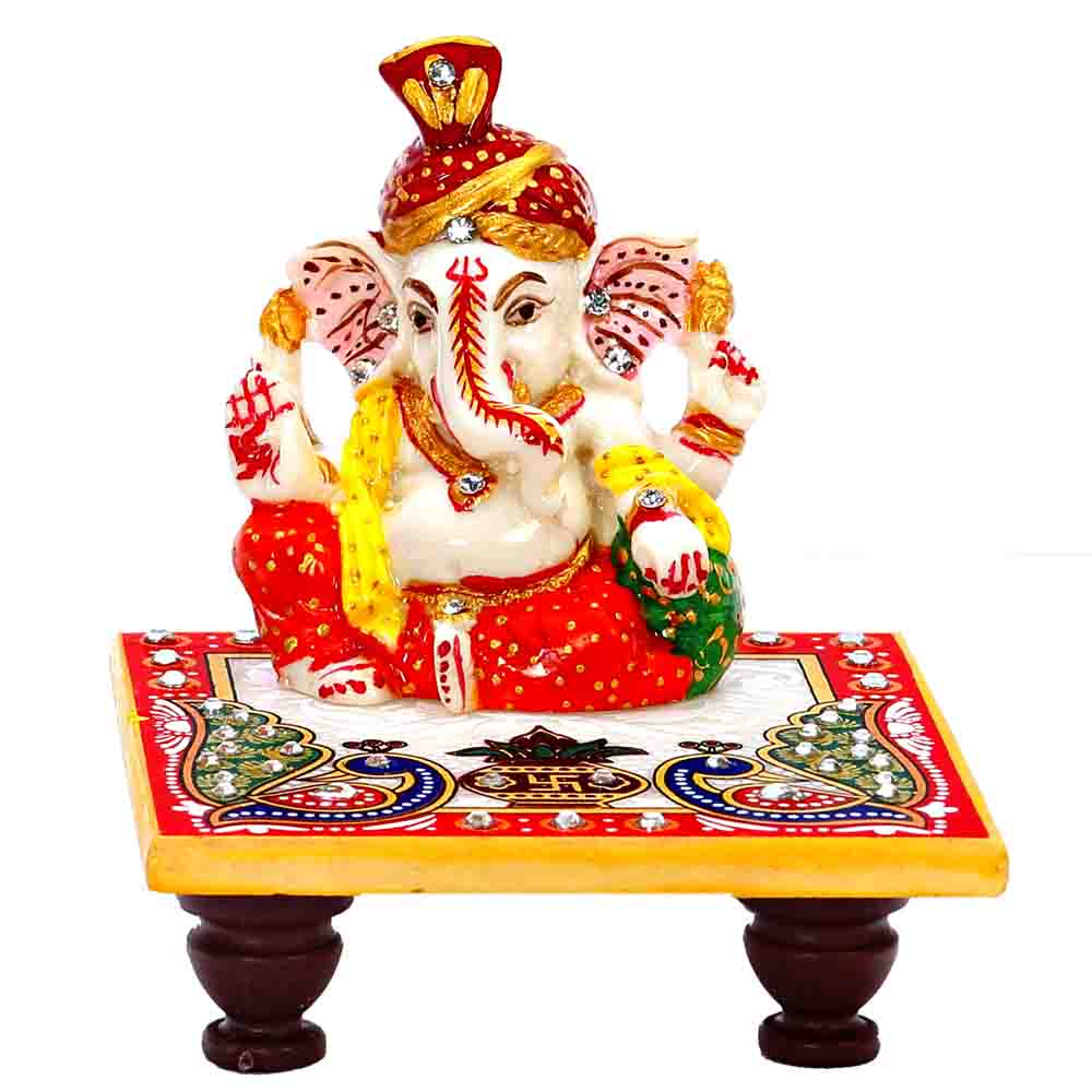 Diwali Lord Ganesh with Pagadi on Marble Chowki