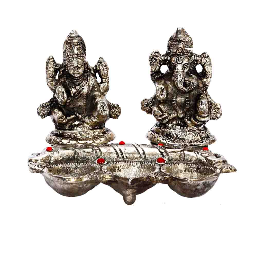 Diwali Metal Finish Laxmi Ganesh with 3 Diyas in front