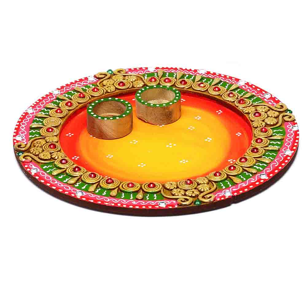 Sun design Wood and Clay Work Arthi Thali
