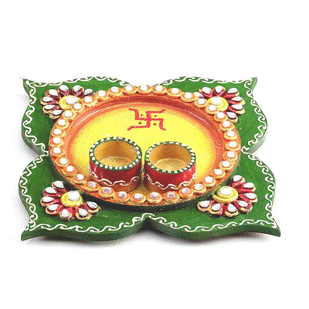 Yellow & Green Floral Design Pooja Thali