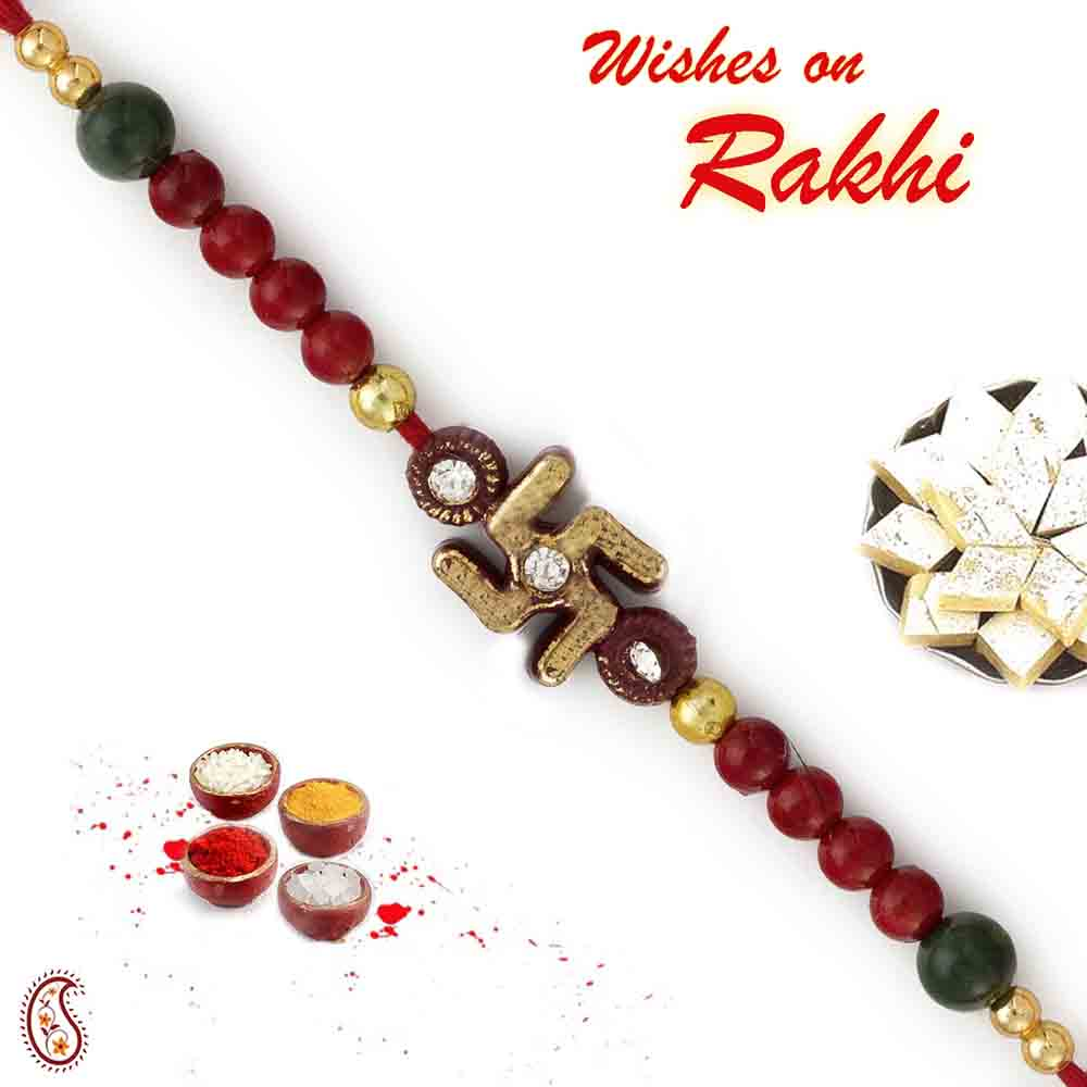 Red & Green Beads Mauli Rakhi with Swastik