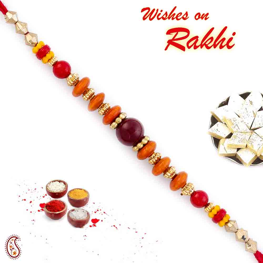 Maroon & Orange Round Bead Thread Rakhi