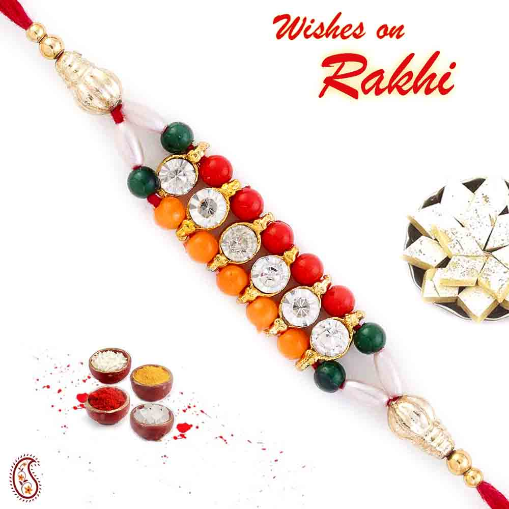 Colorful Joint Beads Mauli Rakhi with AD
