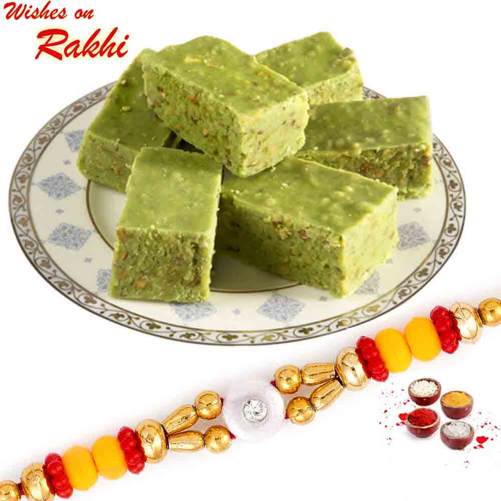 Tasty Pista Barfi pack with Bhaiya Rakhi