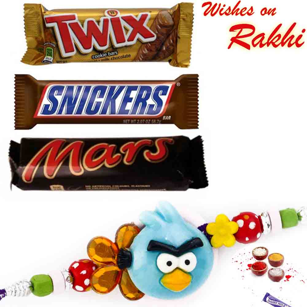 Pack of Twix, Snickers, Mars with Bhaiya Rakhi