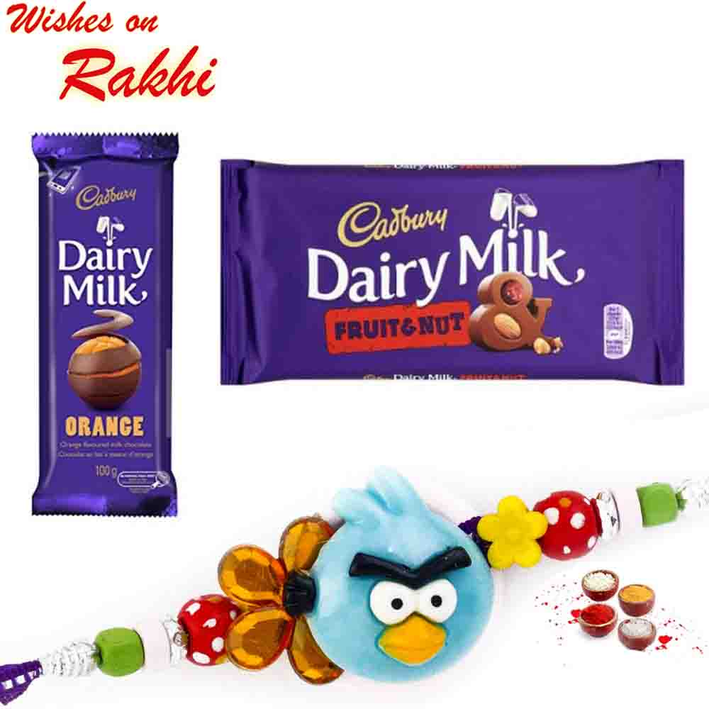 Dairy Milk Fruit n Nut & Orange Chocolate with Bhaiya Rakhi