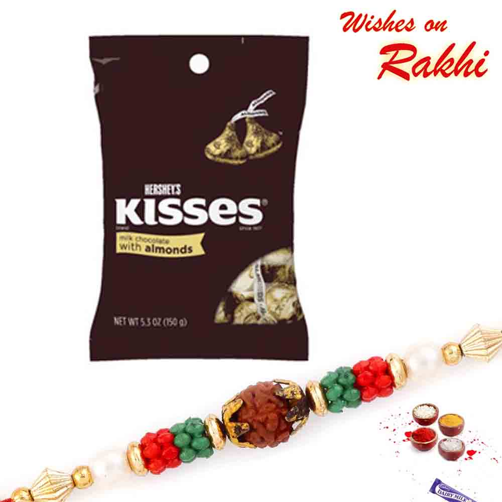 Hershey's Kisses Milk Almonds Chocolate with Bhaiya Rakhi