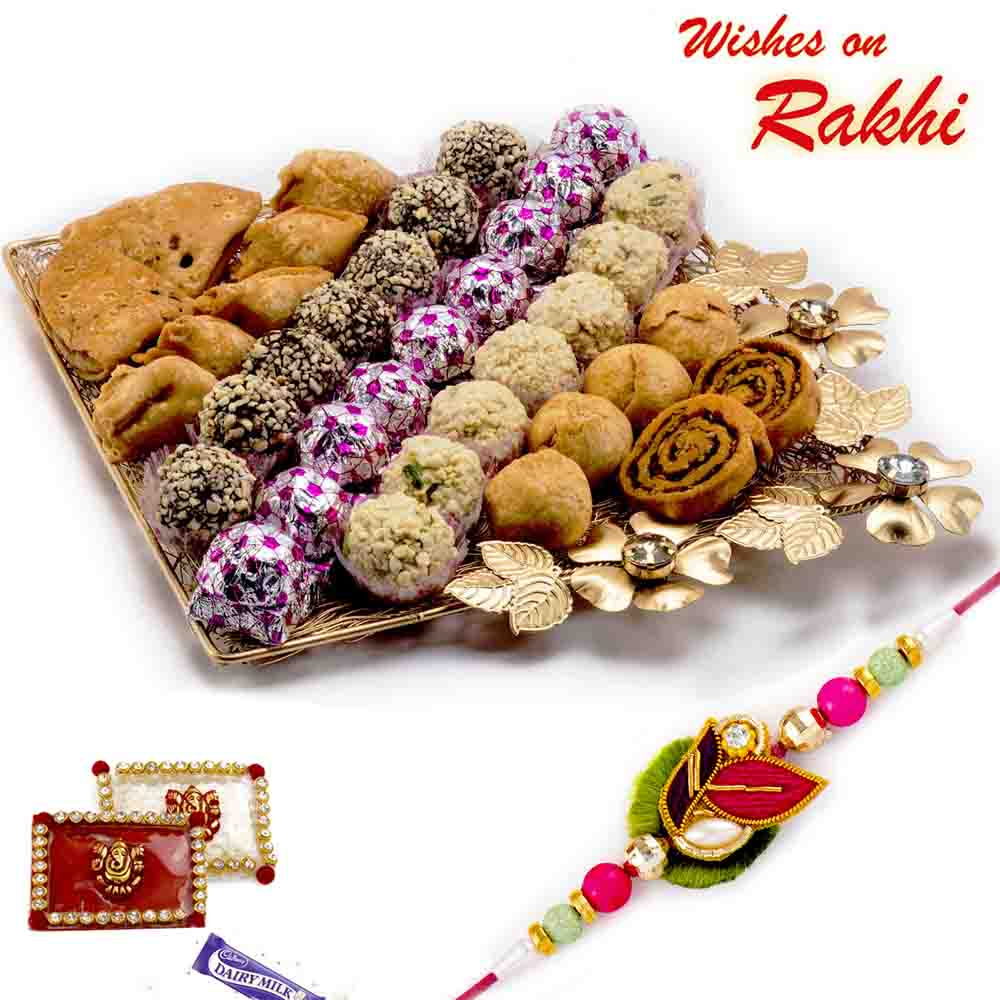 Premium Assorted Sweets Pack with FREE 1 Rakhi