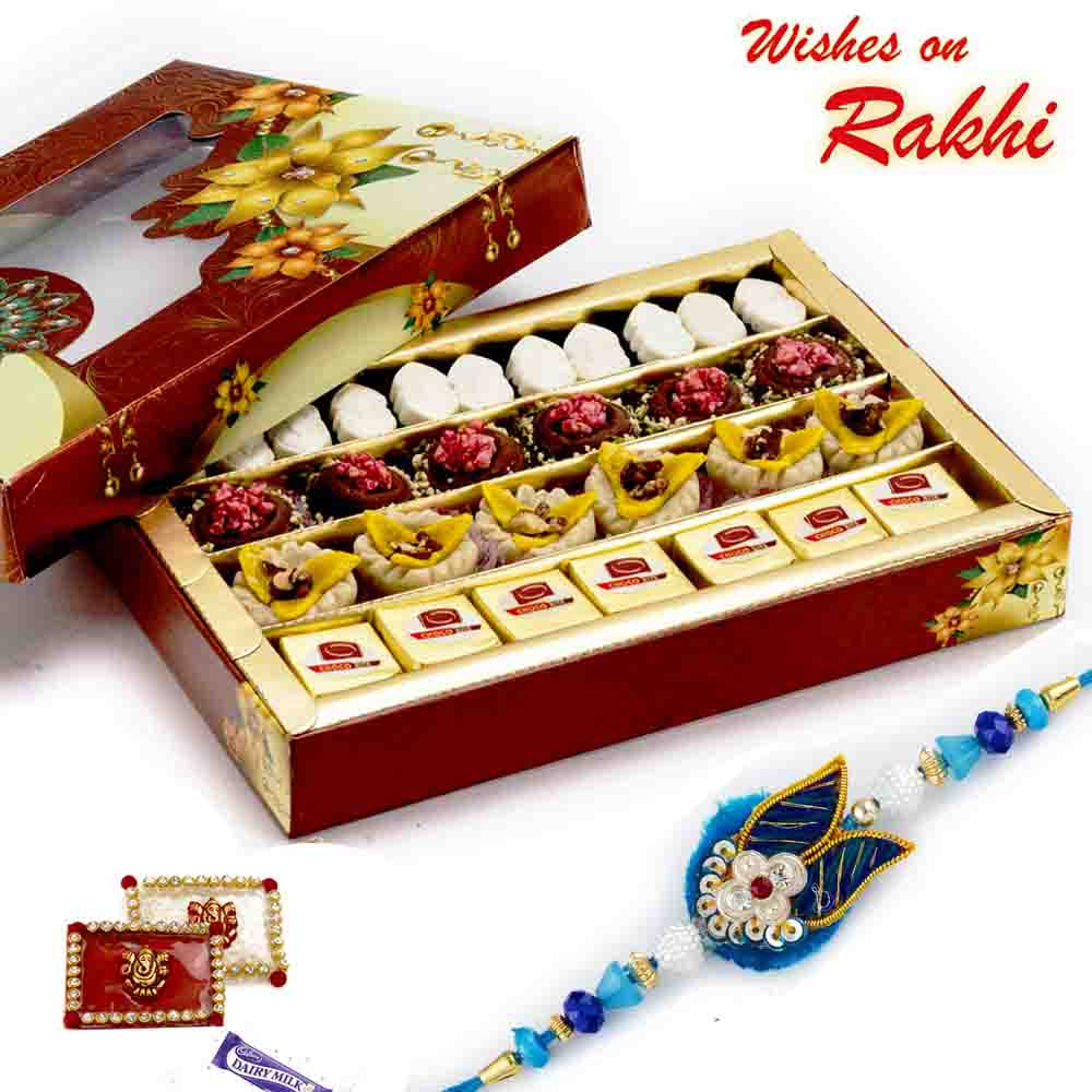 Premium Assorted Colorful Sweets with FREE 1 Rakhi