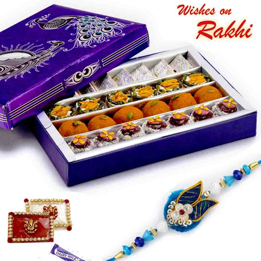 Premium Assorted Kaju sweets & Bundi Laddoo with FREE 1 Rakhi