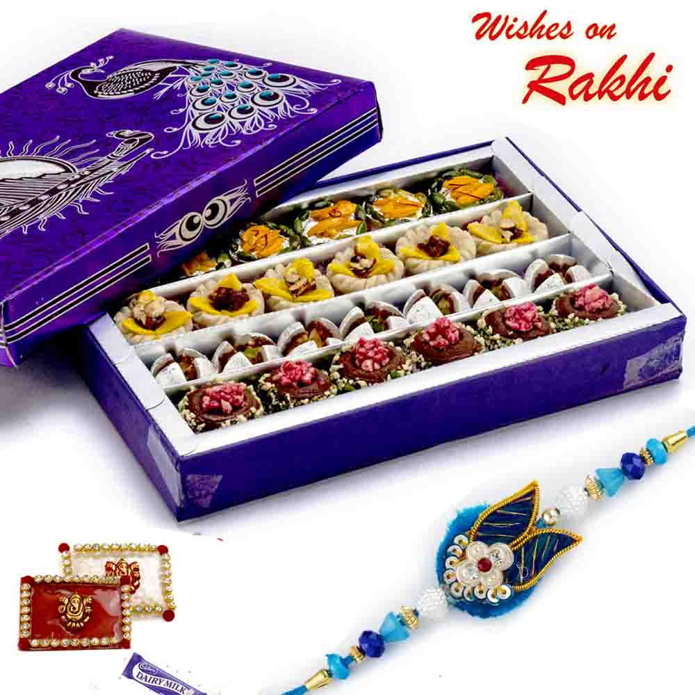 Premium Assorted dryfruit Mix Sweets with FREE 1 Rakhi