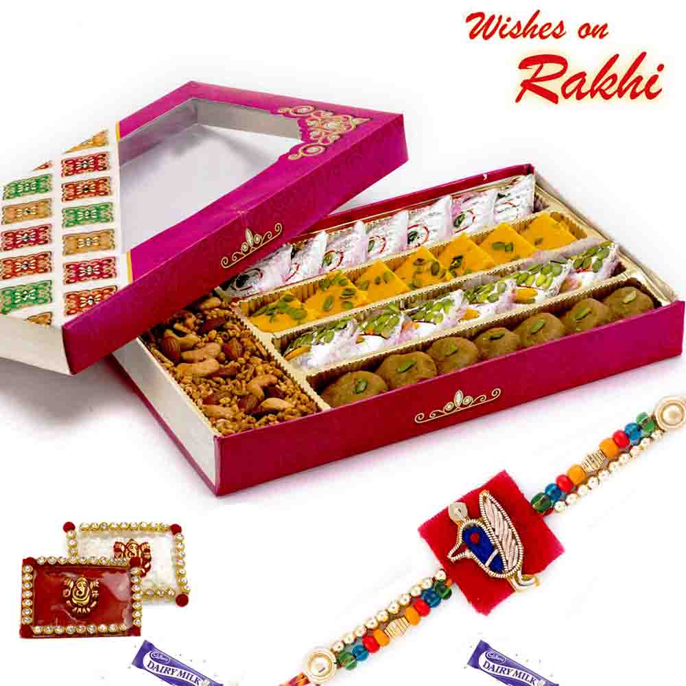 Premium Assorted Sweets & Namkeen Pack with FREE 1 Rakhi