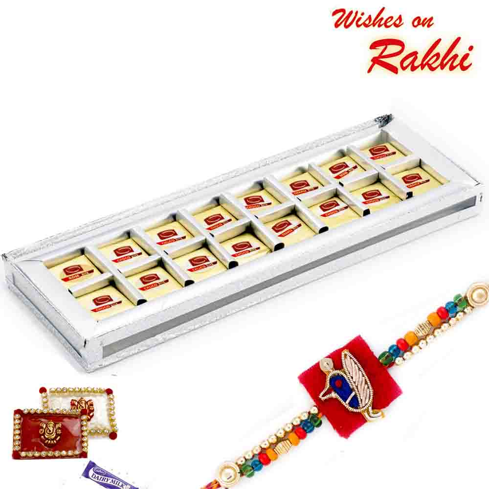 Premium Choco Bite Slice Sweets Pack with FREE 1 Rakhi