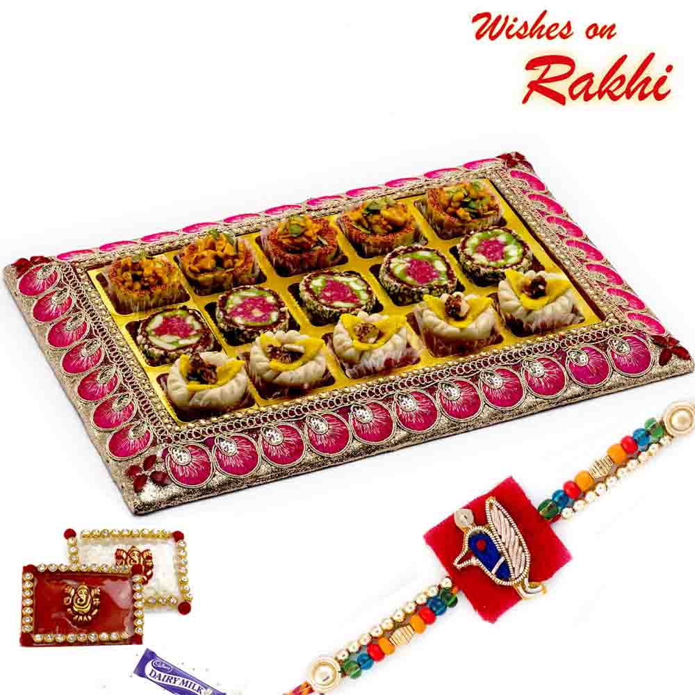 Premium Assorted Kaju and Anjeer Sweets Pack in Tray with FREE 1 Rakhi