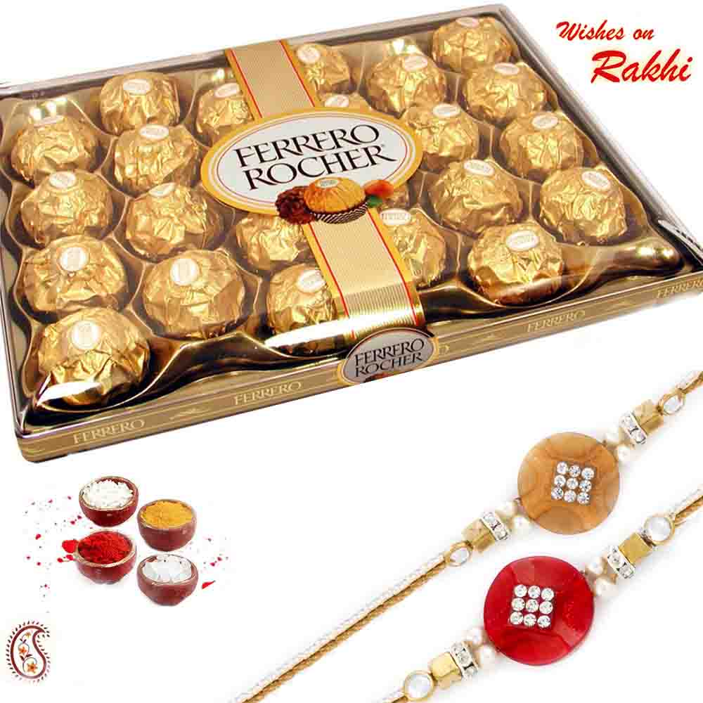 Delicious 24 Pc Ferrero Rocher Pack with Set of 2 Rakhis