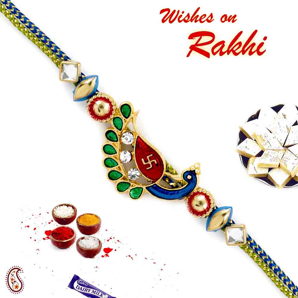 Sweets & Dryfruits-Beautiful metal enameled Peacock Swastik Rakhi