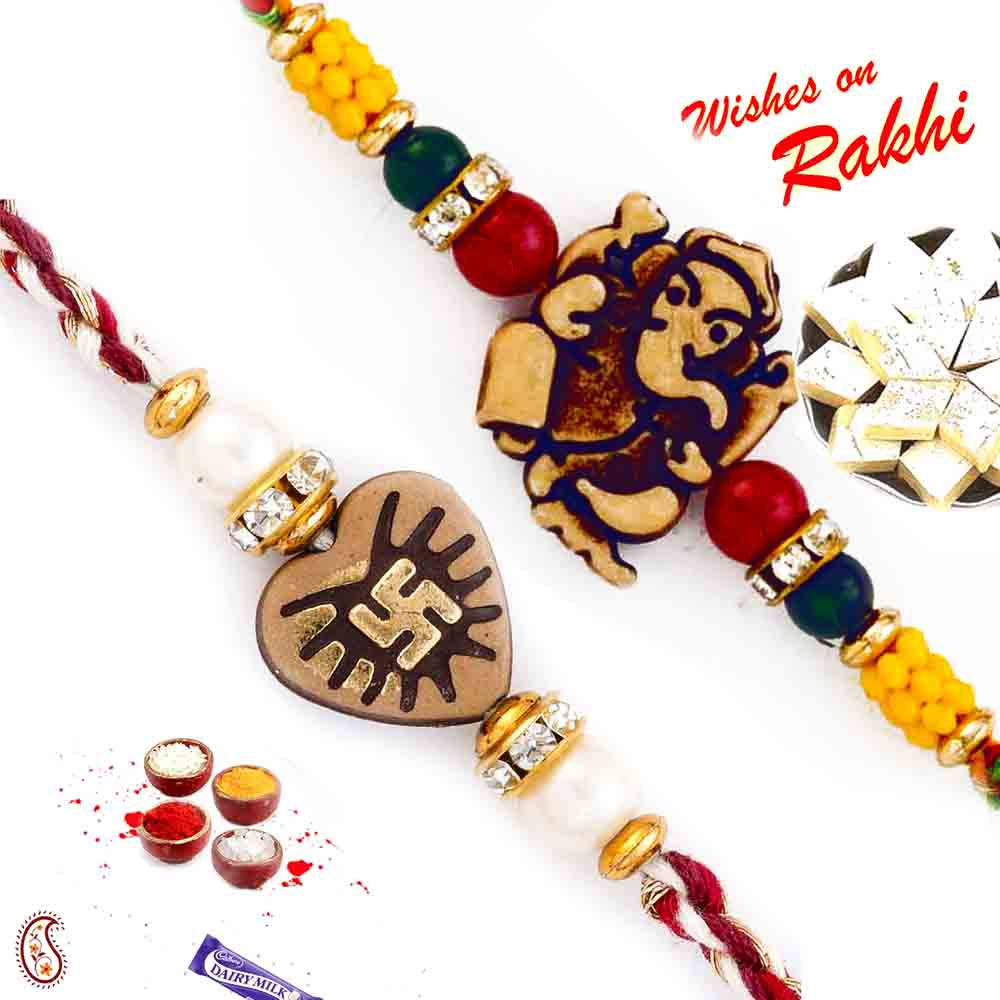 Set of 2 traditional auspicious Rakhi