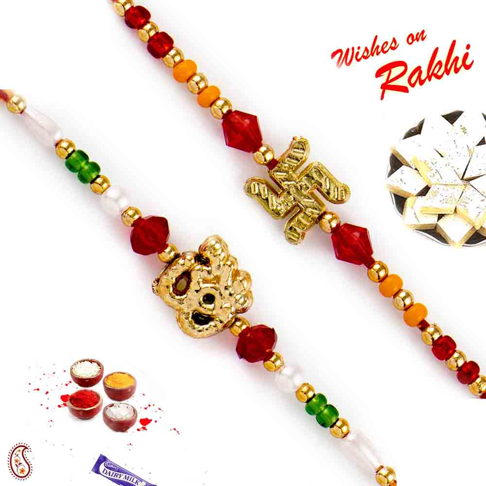 Set of 2 Divine Swastik and Om Rakhi