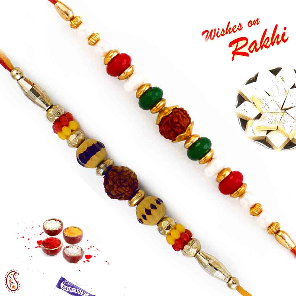 Set of 2 Rudraksh Rakhi with beads