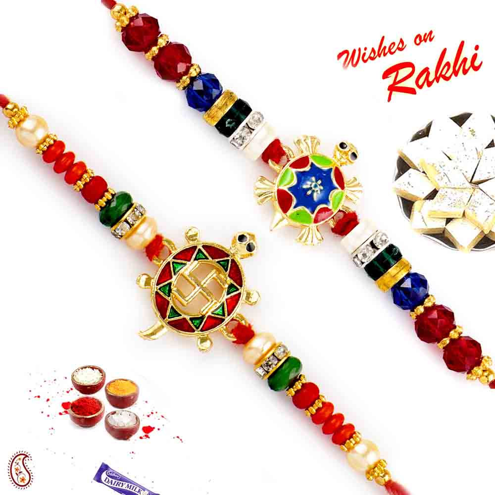 Set of 2 traditional enamel work Rakhi