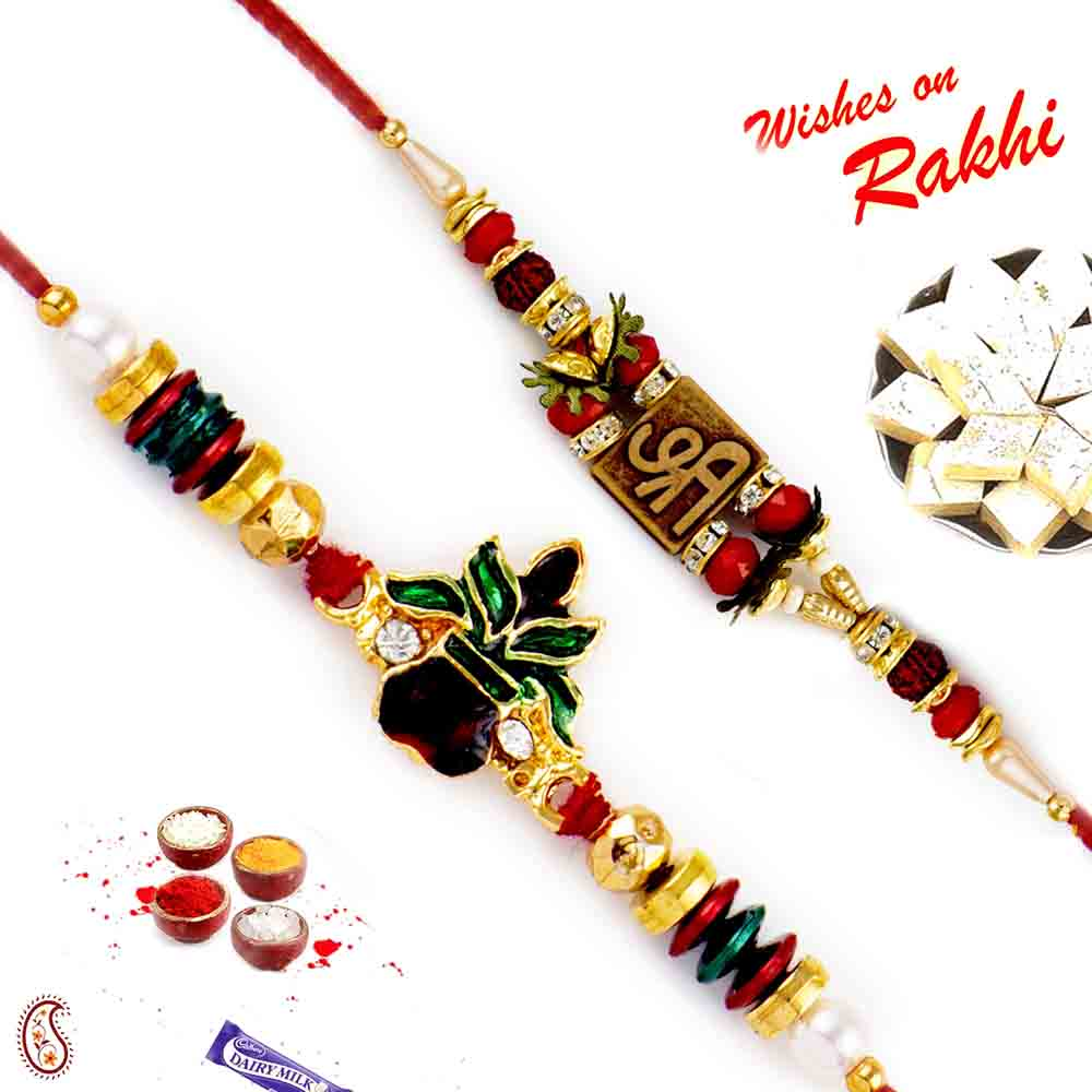 Set of 2 Auspicious Shree and Kalash Rakhi