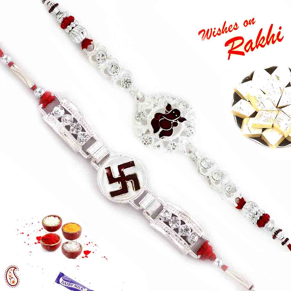 Set of 2 Silver Divine Rakhi