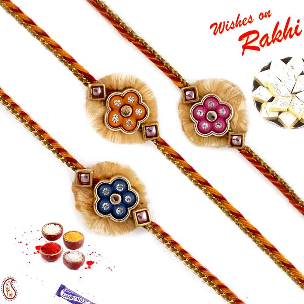 Set of 3 Neo Modern metal Motif Rakhi