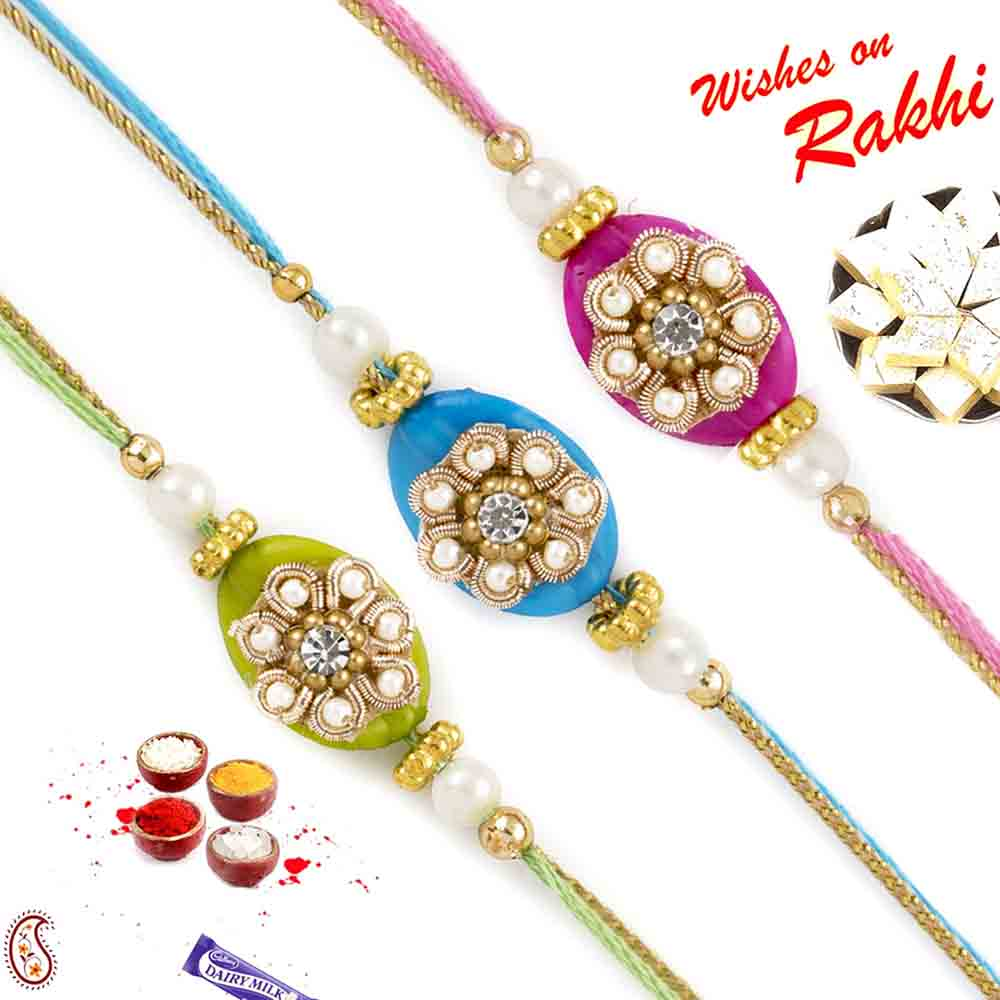 Set of 3 Elegant Fluoroscent colour Pearl Rakhi