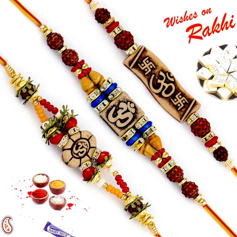 Sweets & Dryfruits-Set of 3 Traditional Rakhi with Divine OM