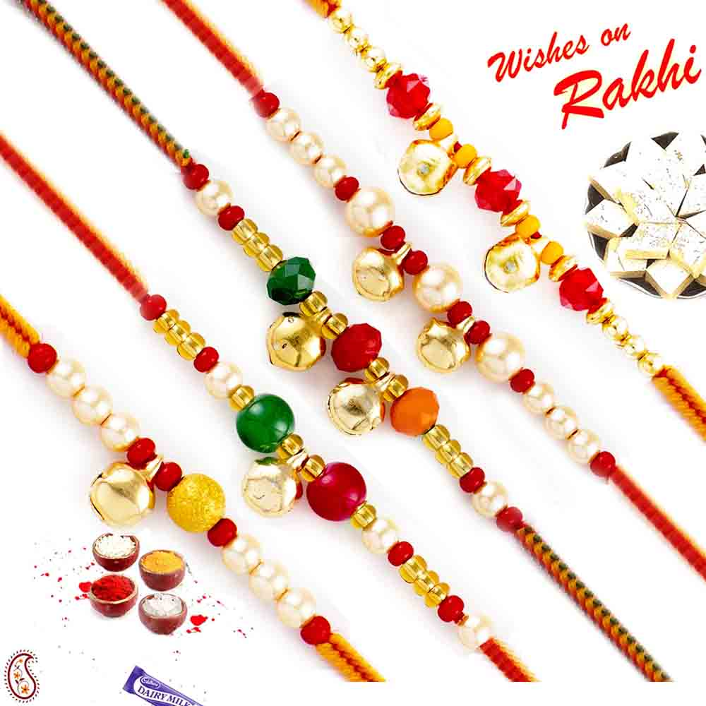 Sweets & Dryfruits-Set of 5Traditional Golden Beads Rakhis