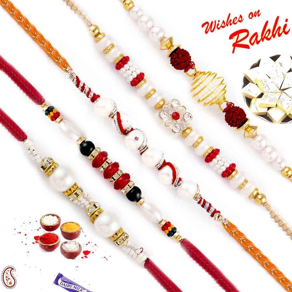 Sweets & Dryfruits-Set of 5 Pearl Rakhis with American Diamonds