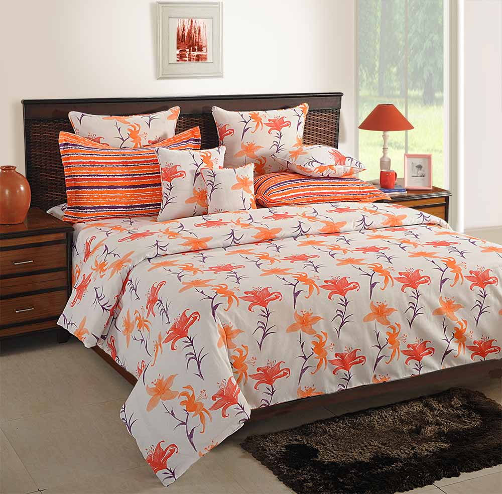 Swayam White and Orange Colour Floral Bed Sheet with Pillow Covers