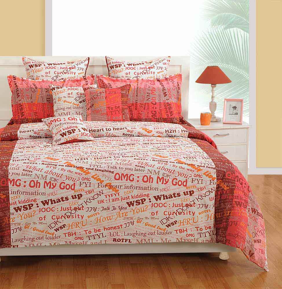 Bedsheets-Swayam White and Pink Colour Text Print Bed Sheet with Pillow Covers