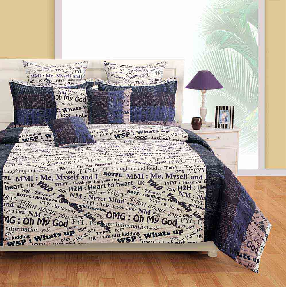 Swayam White and Navy Blue Colour Text Print Bed Sheet with Pillow Covers