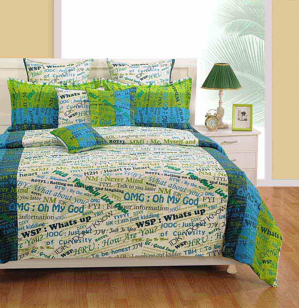 Swayam White and Blue Colour Text Print Bed Sheet with Pillow Covers