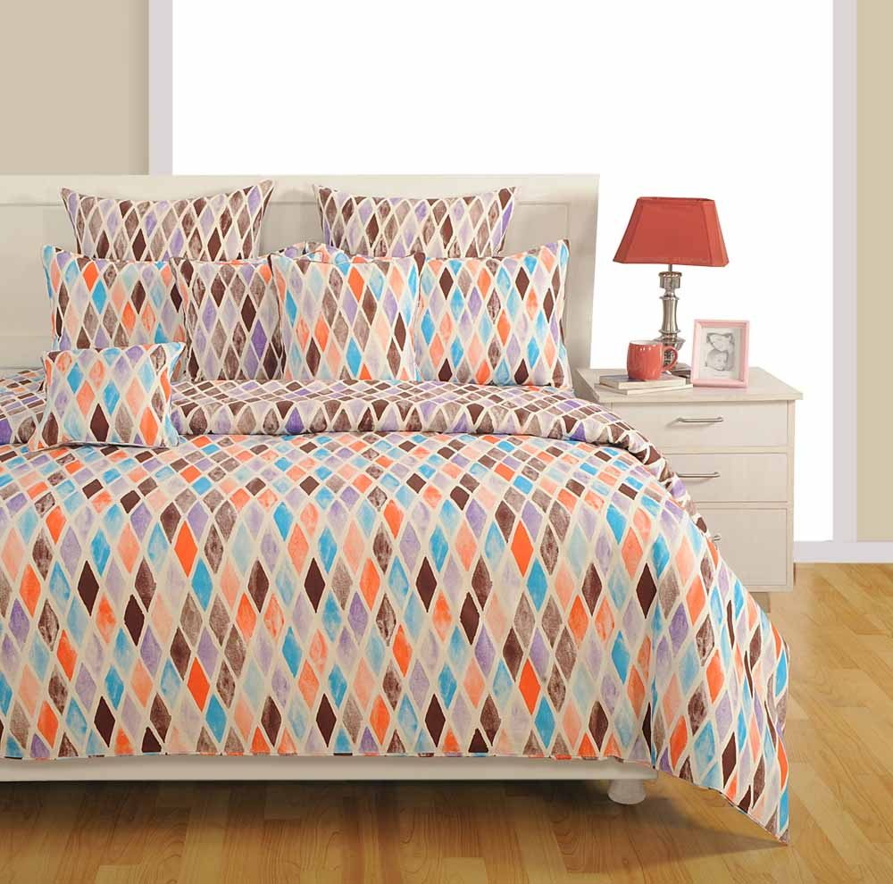 Swayam Blue Colour Bed Sheet with Pillow Covers