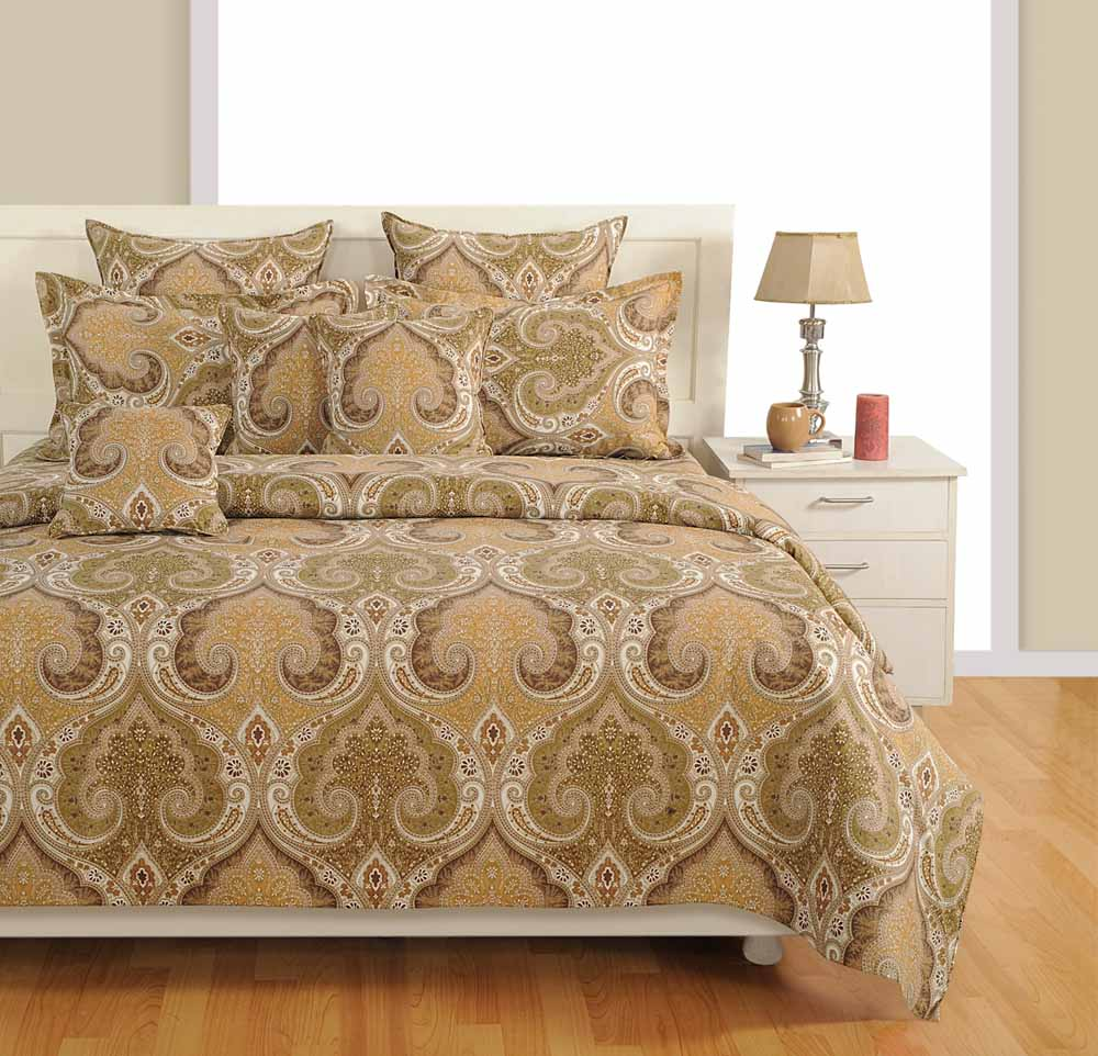 Swayam Beige Colour Extra Large Bed Sheet with Pillow Covers