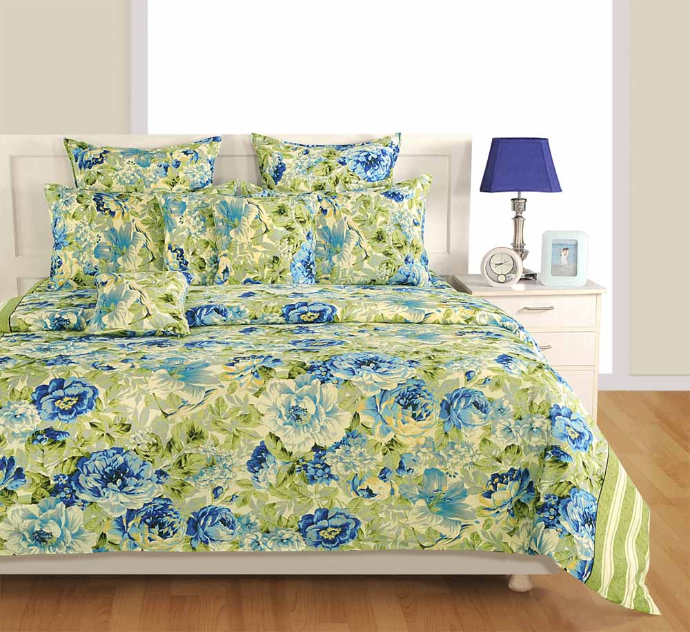 Swayam Off White and Cream Colour Floral Bed Sheet with Pillow Covers