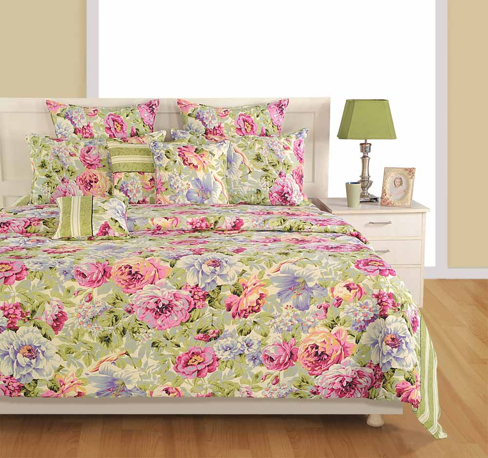 Swayam Cream and Blue Colour Floral Bed Sheet with Pillow Covers