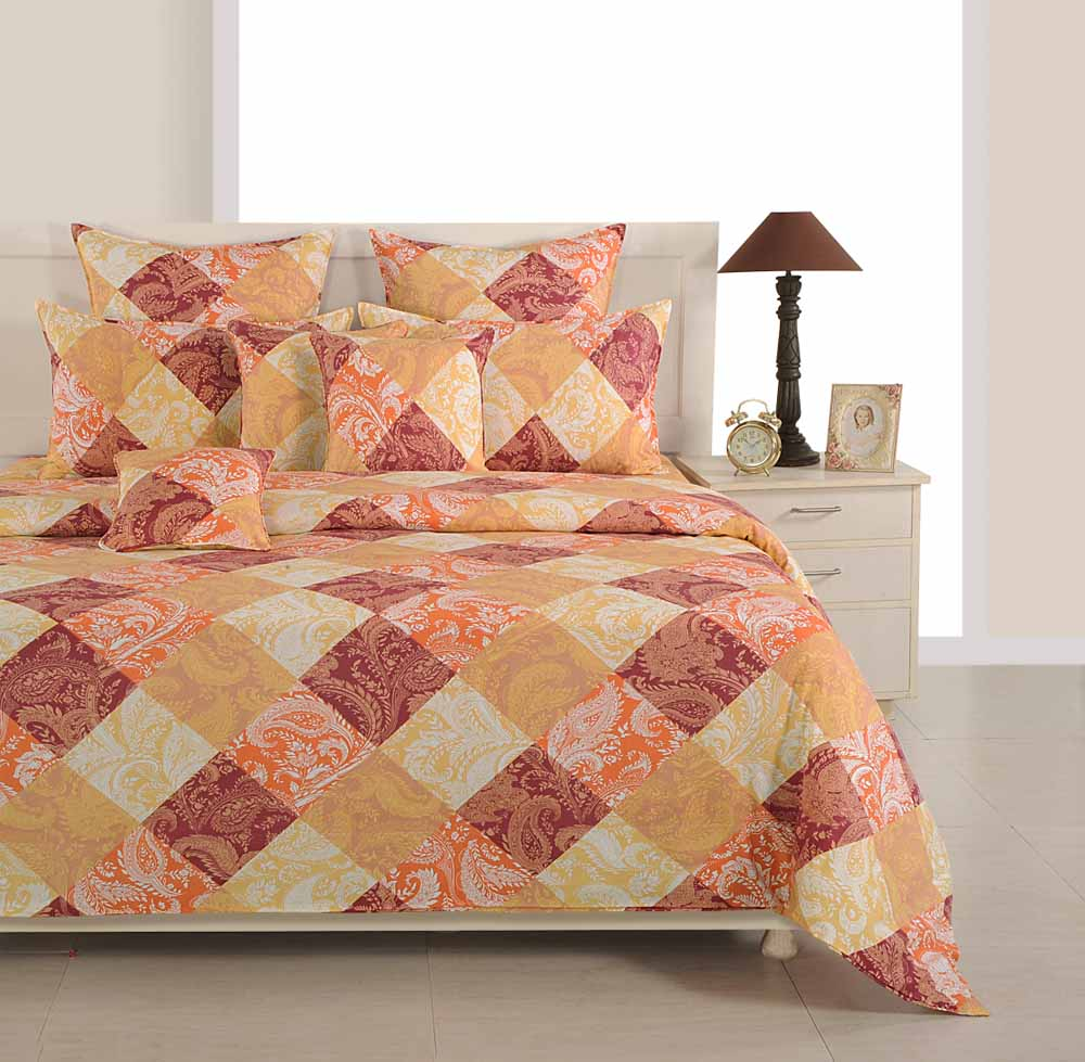 Swayam Orange and Brown Colour Floral and Check Bed Sheet with Pillow Covers