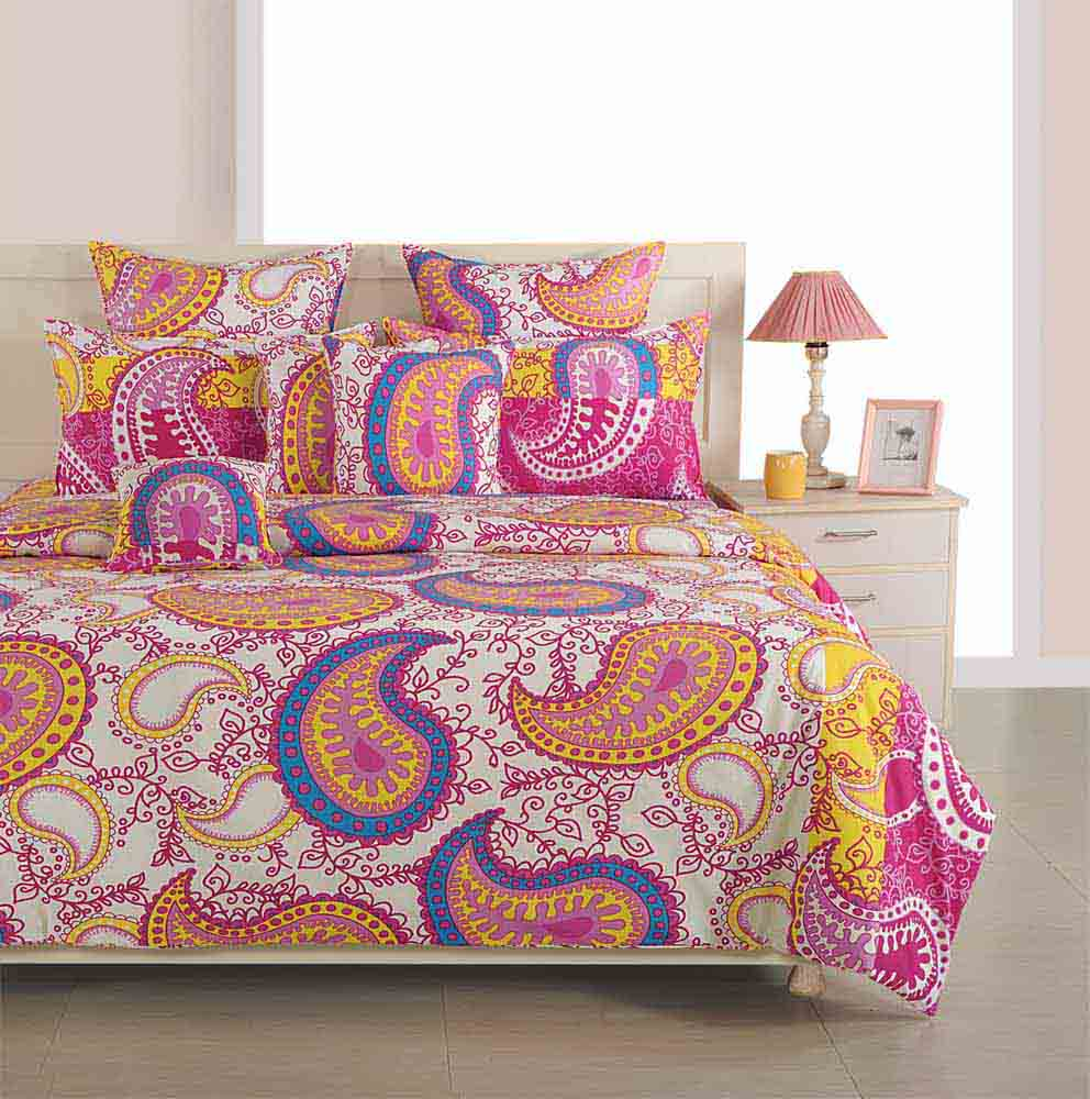 Swayam Magenta and Yellow Colour Ethnic Bed Sheet with Pillow Covers