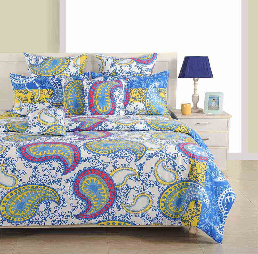 Swayam Blue and Yellow Colour Ethnic Bed Sheet with Pillow Covers
