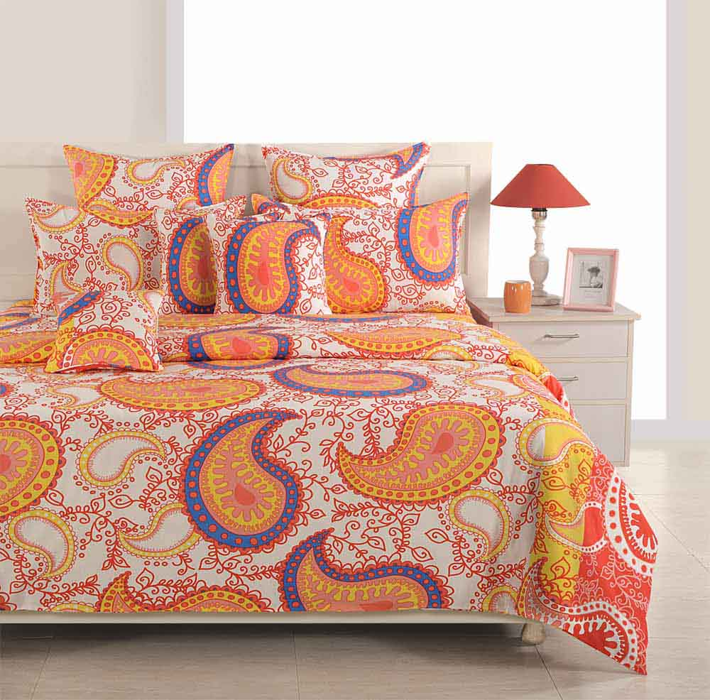 Bedsheets-Swayam Yellow and Orange Colour Ethnic Bed Sheet with Pillow Covers