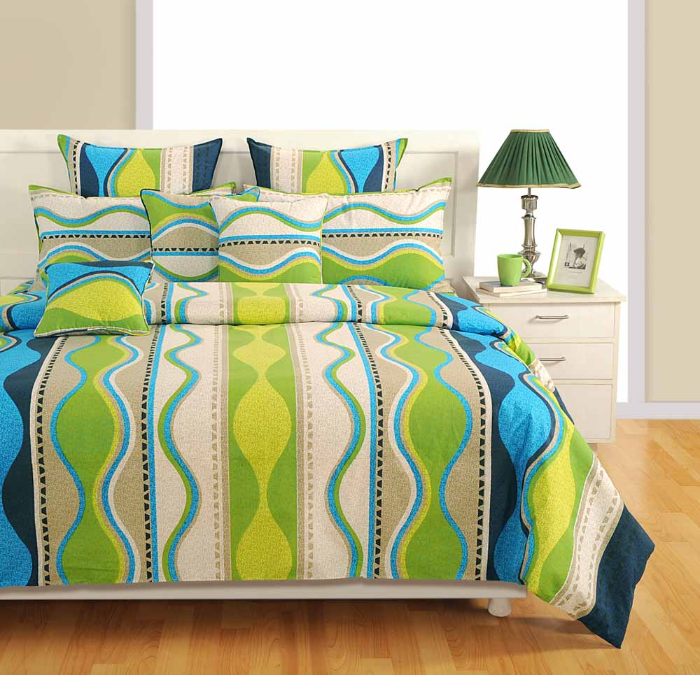 Bed sets-Swayam Blue and Green Colour Stripes Bed Sheet with Pillow Covers